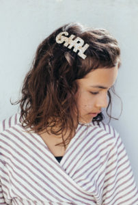 barrette GIRL paillette brune