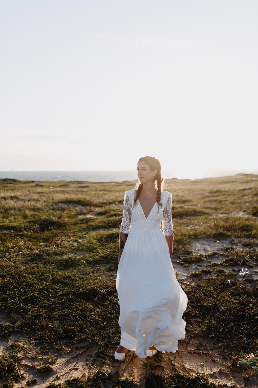 la mariee sur la plage coiffure tresses africaines dorees sur la plage landaise