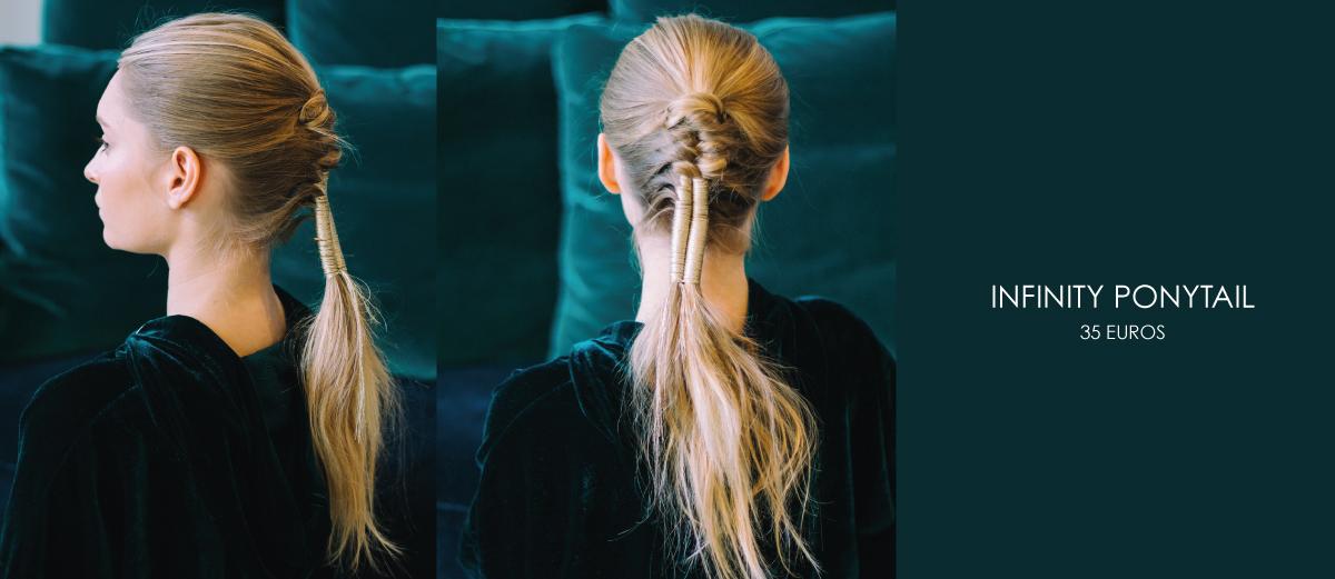 coiffure infinity ponytail avec fil metalise