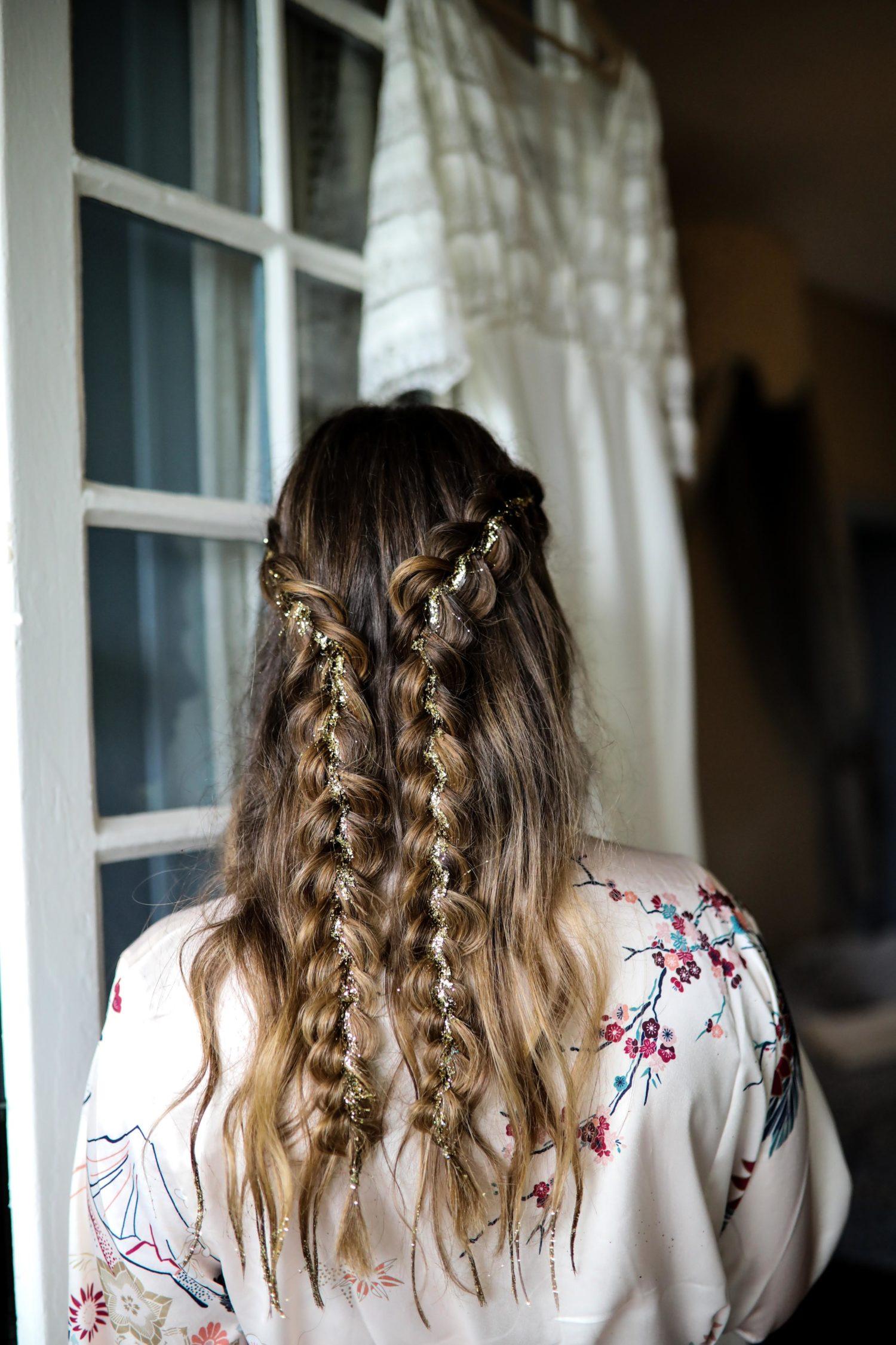 coiffure mariage paillette