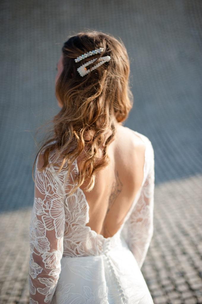 Pince à cheveux en perle pour coiffure de mariée