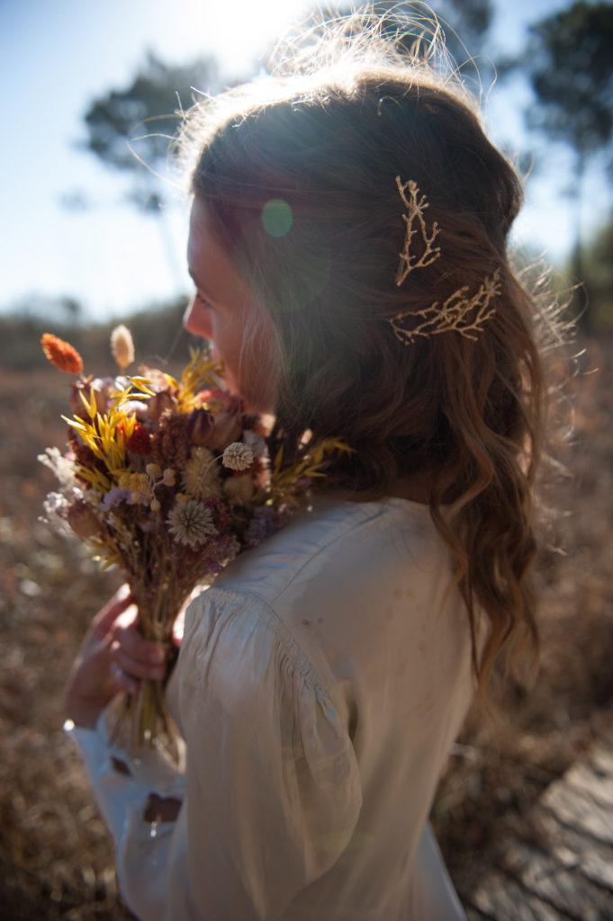 hairpin en laiton doré à l'or fin pour coiffure mariée